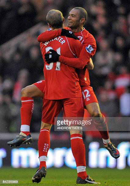 Middlesbrough's Brazilian forward Afonso Alves celebrates with teammate English midfielder David Wheater after scoring against Sunderland during the...