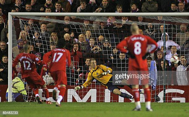 Middlesbrough's Brazilian international Afonso Alves scores from a penalty to make it 10 during the Barclays Premiership game at The Riverside...