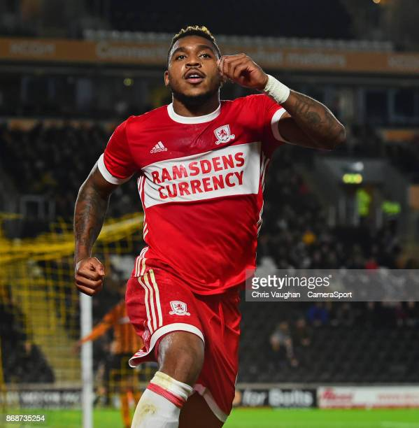 Middlesbrough's Britt Assombalonga celebrates scoring his sides second goal during the Sky Bet Championship match between Hull City and Middlesbrough...