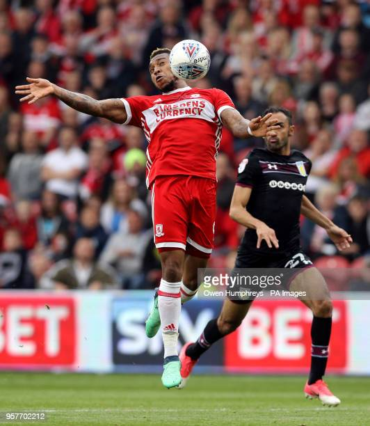 Middlesbrough's Britt Assombalonga controls the ball in the air during the Sky Bet Championship Playoff match at the Riverside Stadium Middlesbrough