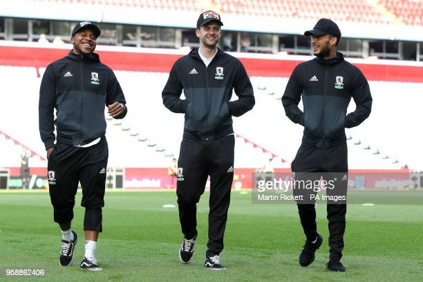 Middlesbrough's Britt Assombalonga Patrick Bamford and Lewis Baker walk the pitch prior to the Sky Bet Championship Playoff match at Villa Park...