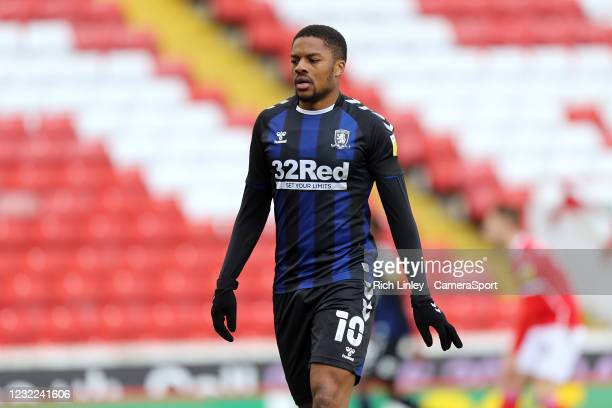 Middlesbrough's Chuba Akpom during the Sky Bet Championship match between Barnsley and Middlesbrough at Oakwell Stadium on April 10, 2021 in...