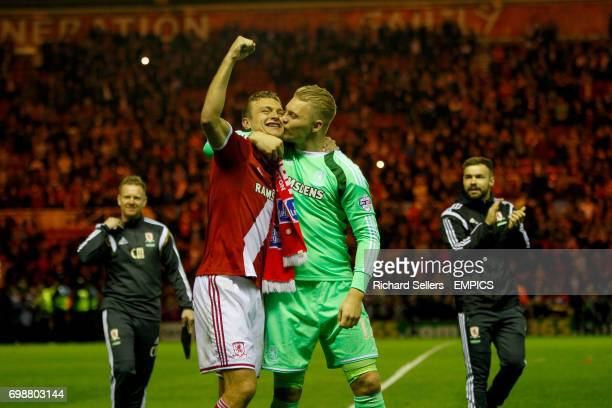Middlesbrough's Connor Ripley gives Middlesbrough's Ben Gibson a big kiss