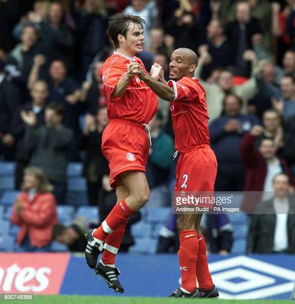 Middlesbrough's Curtis Fleming congratulates Robbie Stockdale scoring the first goal against Chelsea in the FA Barclaycard Premiership at Stamford...