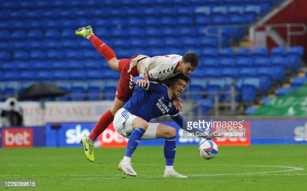 Middlesbrough's Dael Fry fouls Cardiff City's Kieffer Moore during the Sky Bet Championship match between Cardiff City and Middlesbrough at Cardiff...