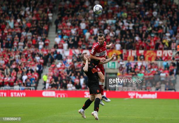 Middlesbrough's Dael Fry wins a header during the Sky Bet Championship match between Middlesbrough and Blackpool at the Riverside Stadium,...