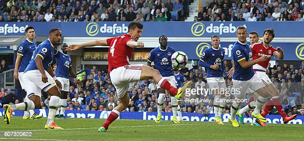 Middlesbrough's Daniel Ayala narrowly misses making contact with an early freekick into the Everton penalty area during the Premier League match...