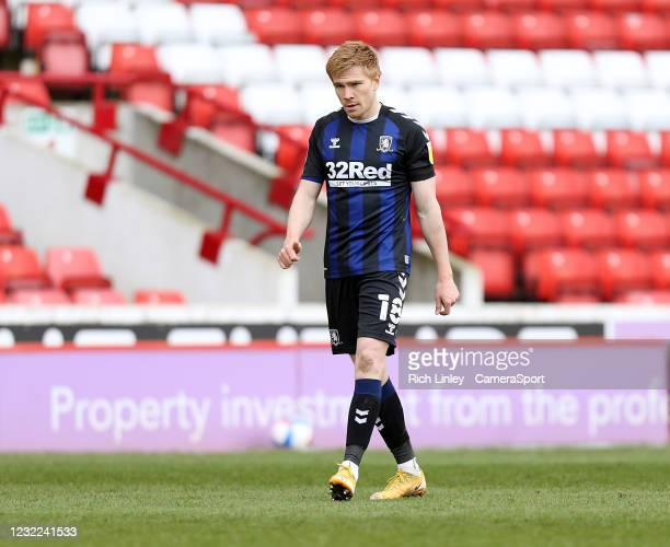 Middlesbrough's Duncan Watmore during the Sky Bet Championship match between Barnsley and Middlesbrough at Oakwell Stadium on April 10, 2021 in...