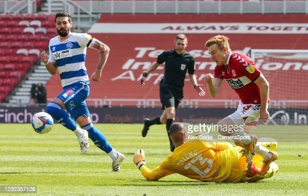 Middlesbrough's Duncan Watmore is fouled by Queens Park Rangers' Seny Dieng during the Sky Bet Championship match between Middlesbrough and Queens...