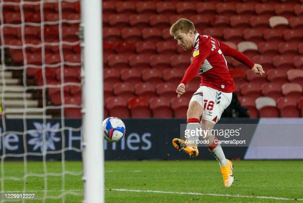 Middlesbroughs Duncan Watmore scores his side's second goal during the Sky Bet Championship match between Middlesbrough and Swansea City at Riverside...
