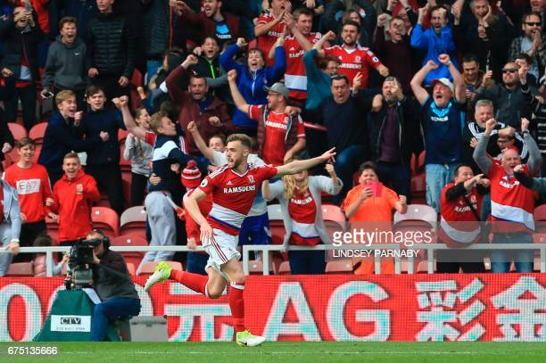 Middlesbrough's English defender Calum Chambers celebrates scoring the team's second goal during the English Premier League football match between...