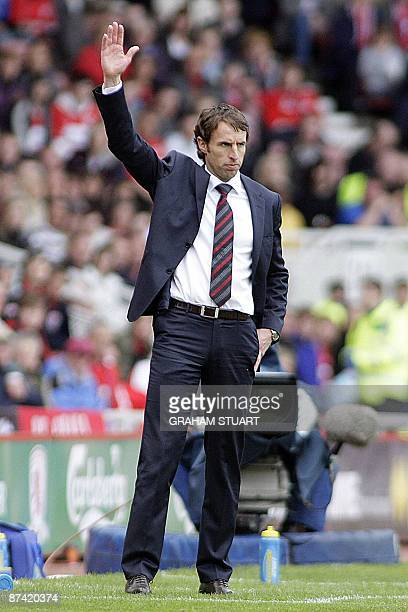 Middlesbrough's English manager Gareth Southgate during the English Premier League football match between Middlesbrough and Aston Villa at the...