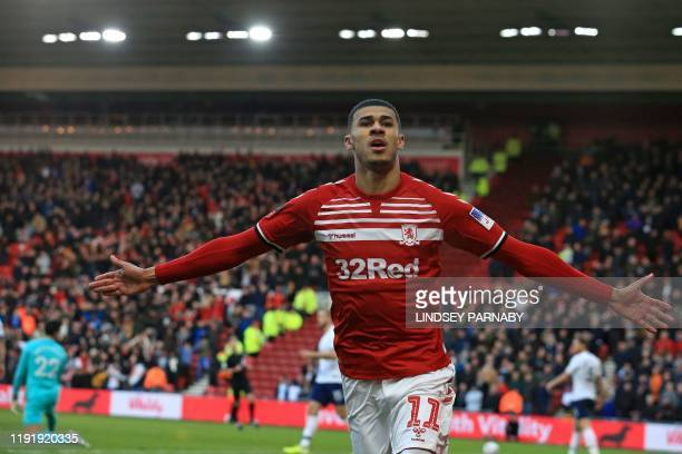 Middlesbrough's English striker Ashley Fletcher celebrates after scoring the opening goal of the English FA cup third round football match between...