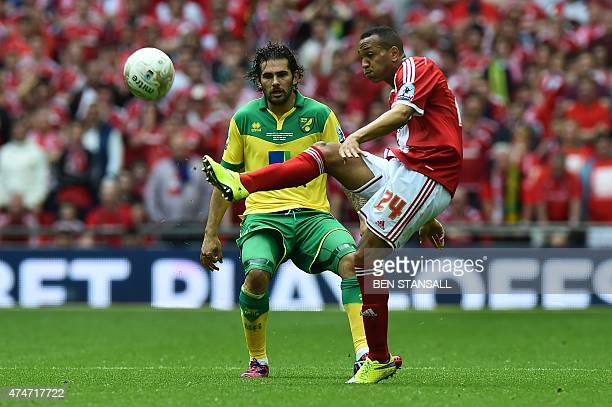 Middlesbrough's Equatorial Guinean midfielder Emilio Nsue plays the ball under pressure from Norwich City's English midfielder Bradley Johnson during...