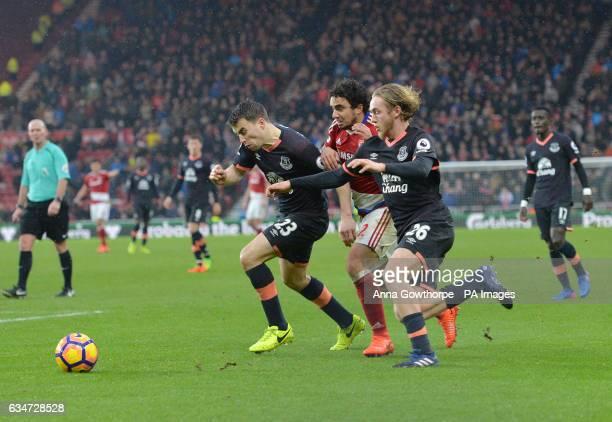 Middlesbrough's Fabio Pereira da Silva is beaten by Everton's Seamus Coleman and Tom Davies during the Premier League match at the Riverside Stadium...