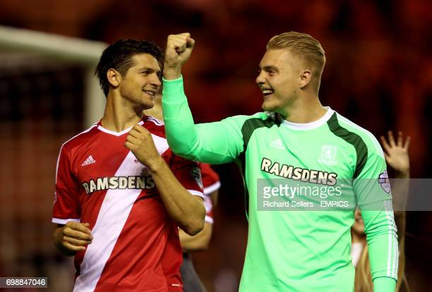 Middlesbrough's George Friend and MIddlesbrough goalkeeper Connor Ripley celebrate