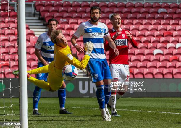 Middlesbrough's George Saville heads just wide during the Sky Bet Championship match between Middlesbrough and Queens Park Rangers at Riverside...