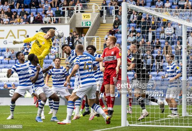 Middlesbrough's goalkeeper Joe Lumley heads at goal in the dying seconds of the match during the Sky Bet Championship match between Reading and...