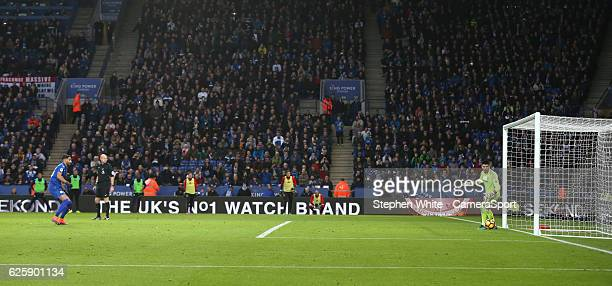 Middlesbrough's goalkeeper Victor Valdes is beaten by Leicester City's Riyad Mahrez as he scores his sides equalising goal to make the score 11 from...