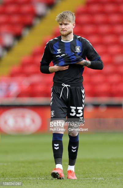 Middlesbrough's Hayden Coulson during the Sky Bet Championship match between Barnsley and Middlesbrough at Oakwell Stadium on April 10, 2021 in...