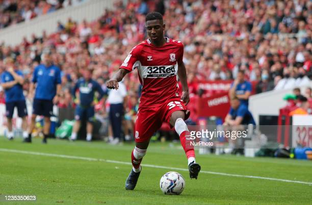Middlesbrough's Isaiah Jones during the Sky Bet Championship match between Middlesbrough and Blackpool at the Riverside Stadium, Middlesbrough on...