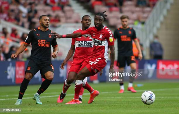 Middlesbrough's James Léa Siliki breaks through against Blackpool during the Sky Bet Championship match between Middlesbrough and Blackpool at the...