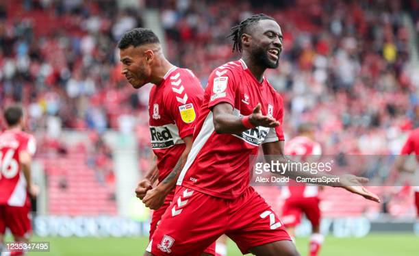 Middlesbrough's James Lea Siliki celebrates Marcus Taverniers opening goal during the Sky Bet Championship match between Middlesbrough and Blackpool...