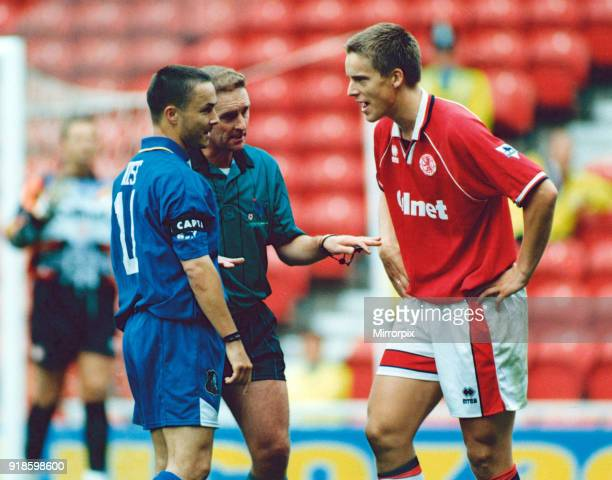Middlesbrough's Jan Aage Fjortoft and Chelsea's Dennis Wise argue with the referee Middlesbrough 2 0 Chelsea 26th August 1995