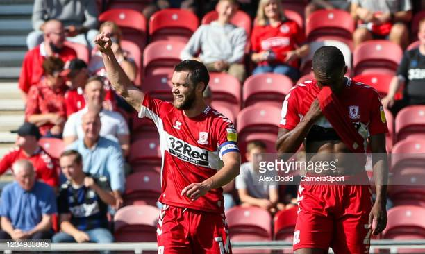 Middlesbrough's Jonny Howson celebrates scoring his side's first goal during the Sky Bet Championship match between Middlesbrough and Blackburn...