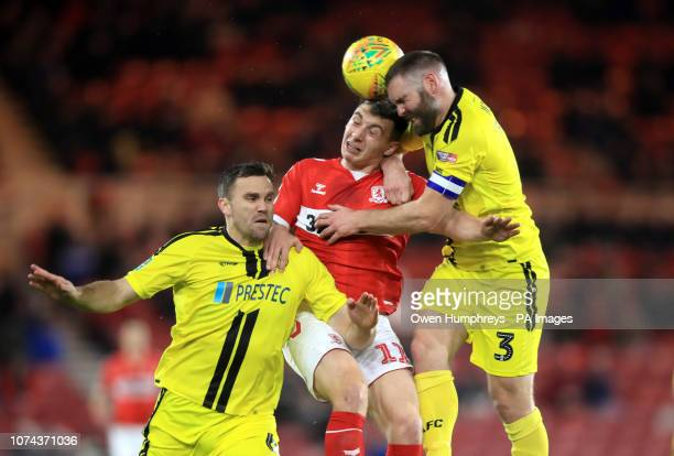 Middlesbrough's Jordan Hugill and Burton Albion's Jake Buxton and Ben Turner battle for the ball during the Carabao Cup Quarter Final match at the...
