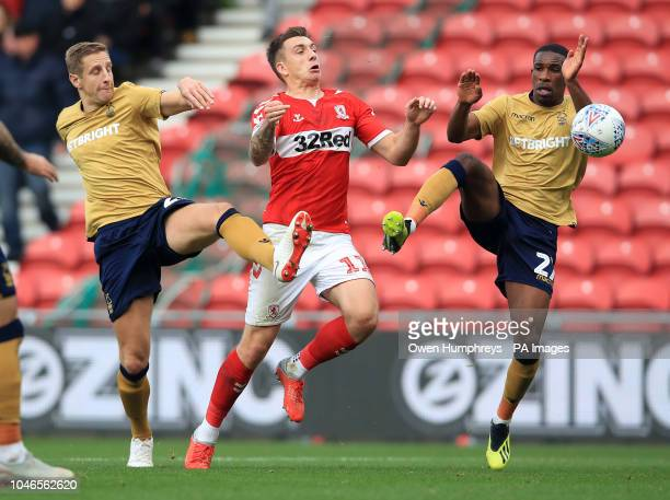 Middlesbrough's Jordan Hugill is challenged by Nottingham Forest's Michael Dawson and Tendayi Dariikwa during the Sky Bet Championship match at...
