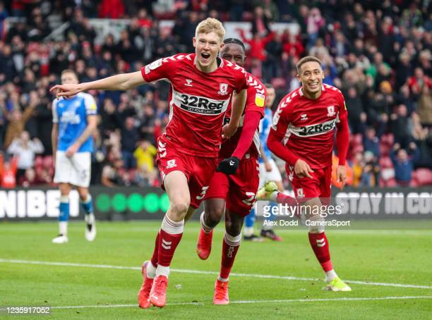 Middlesbrough's Josh Coburn celebrates scoring his side's second goal during the Sky Bet Championship match between Middlesbrough and Peterborough...