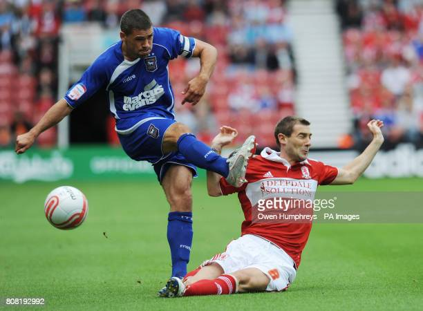 Middlesbrough's Kevin Thomson tackles Ipswich Town's Jon Walters during the npower Football League Championship match at the Riverside Stadium...