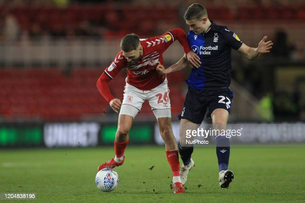 Middlesbrough's Lewis Wing in action with Ryan Yates of Nottingham Forest during the Sky Bet Championship match between Middlesbrough and Nottingham...