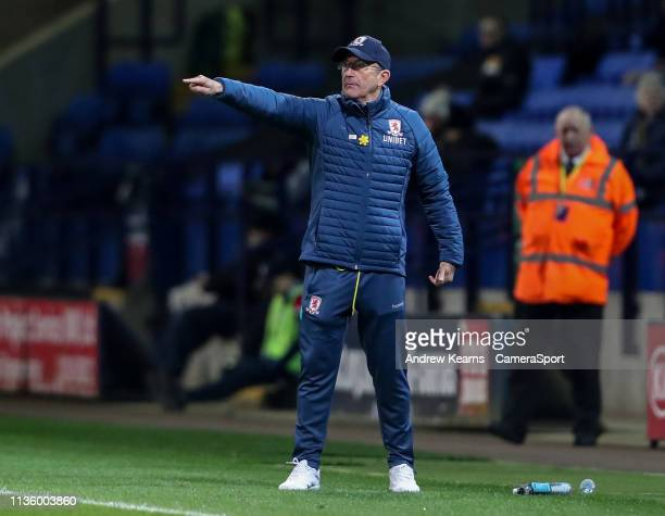 Middlesbrough's manager Tony Pulis during the Sky Bet Championship match between Bolton Wanderers and Middlesbrough at Macron Stadium on April 9 2019...