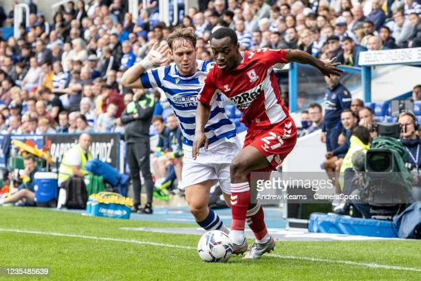 Middlesbrough's Marc Bola breaks during the Sky Bet Championship match between Reading and Middlesbrough at Madejski Stadium on September 25, 2021 in...