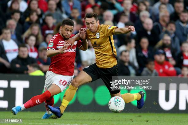 Middlesbrough's Marcus Browne and Crewe Alexandra's Harry Pickering battle for the ball Middlesbrough v Crewe Alexandra Carabao Cup First Round...