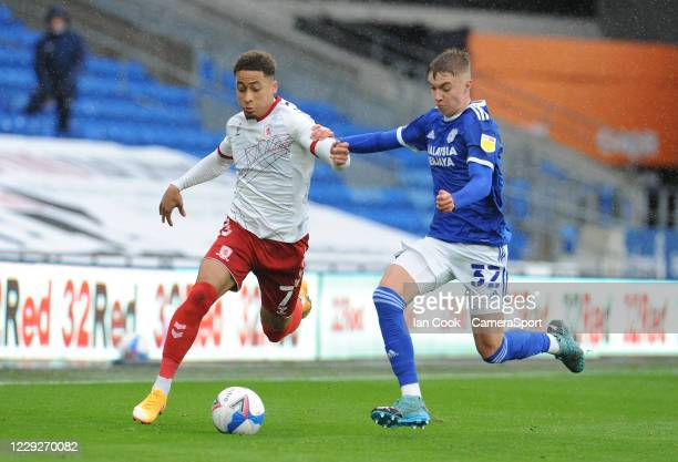Middlesbrough's Marcus Tavernier battles with Cardiff City's Joe Bennett during the Sky Bet Championship match between Cardiff City and Middlesbrough...