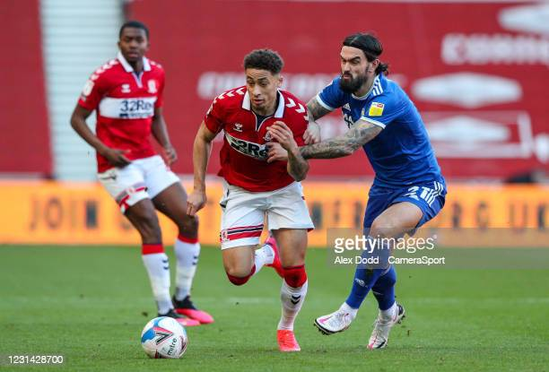 Middlesbrough's Marcus Tavernier battles with Cardiff City's Marlon Pack during the Sky Bet Championship match between Middlesbrough and Cardiff City...
