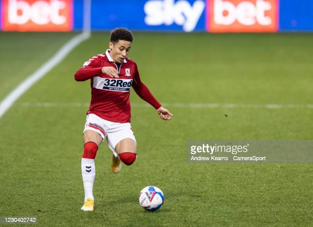 Middlesbrough's Marcus Tavernier breaks during the Sky Bet Championship match between Wycombe Wanderers and Middlesbrough at Adams Park on January 2,...