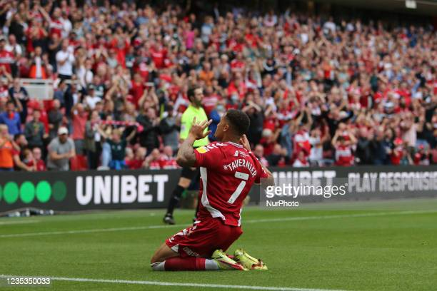 Middlesbrough's Marcus Tavernier celebrates his goal during the Sky Bet Championship match between Middlesbrough and Blackpool at the Riverside...