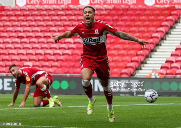 Middlesbrough's Marcus Tavernier celebrates scoring the opening goal during the Sky Bet Championship match between Middlesbrough and Blackpool at...