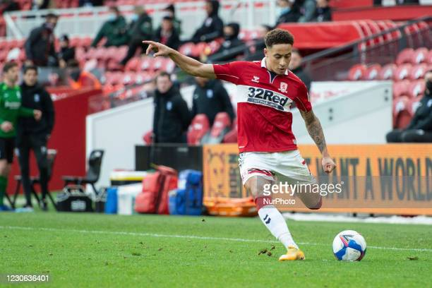 Middlesbrough's Marcus Tavernier crosses the ball during the Sky Bet Championship match between Middlesbrough and Birmingham City at the Riverside...
