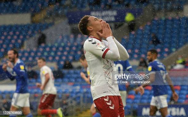 Middlesbrough's Marcus Tavernier looks to the sky after seeing his shot narrowly missed during the Sky Bet Championship match between Cardiff City...