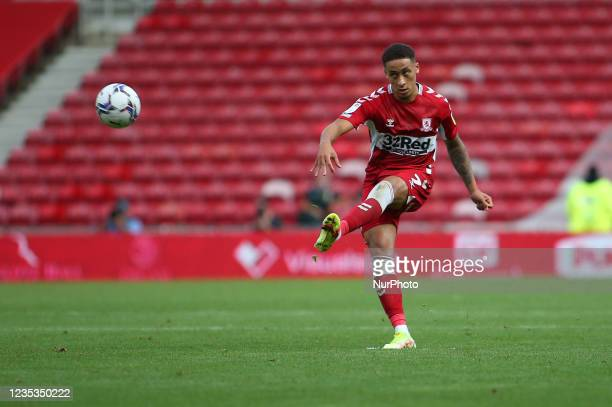 Middlesbrough's Marcus Tavernier takes a free kick during the Sky Bet Championship match between Middlesbrough and Blackpool at the Riverside...