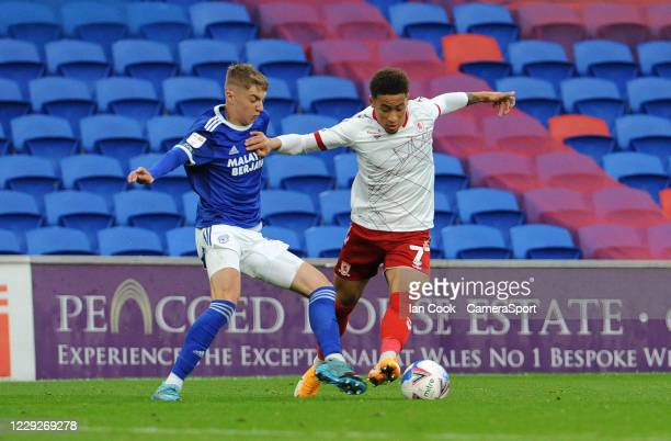 Middlesbrough's Marcus Tavernier takes on Cardiff City's Joel Bagan during the Sky Bet Championship match between Cardiff City and Middlesbrough at...