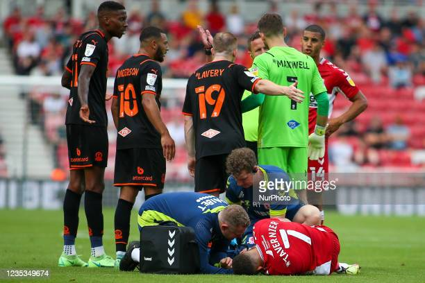 Middlesbrough's Marcus Tavernier undergoes treatment following a foul during the Sky Bet Championship match between Middlesbrough and Blackpool at...
