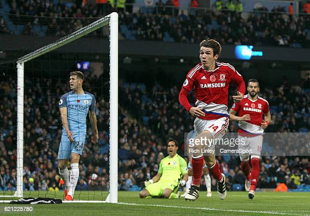 Middlesbrough's Marten de Roon scores his sides equalising goal to make the score 11 during the Premier League match between Manchester City and...