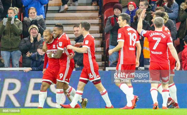 Middlesbrough's Martin Braithwaite celebrates scoring his side's first goal with teammates during the Sky Bet Championship match between...