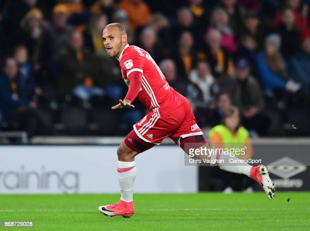 Middlesbrough's Martin Braithwaite celebrates scoring the opening goal during the Sky Bet Championship match between Hull City and Middlesbrough at...